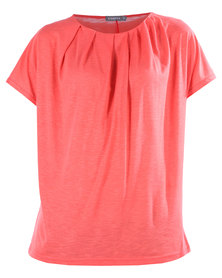 Utopia Pleated Sparkle Top Coral