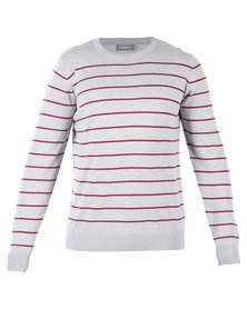 Utopia Stripe Crew Neck Jumper Grey