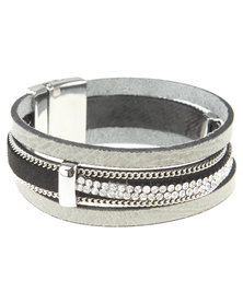 Utopia Diamante Trim Bracelet Grey
