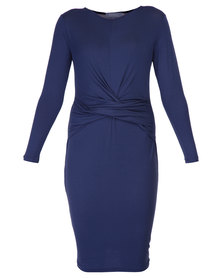 Utopia Drape Front Dress Navy