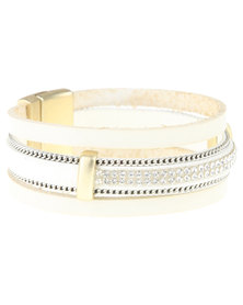 Utopia Diamante Trim Bracelet White
