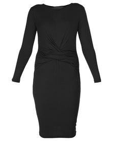 Utopia Drape Front Dress Black