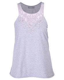 Utopia Vest with Crochet Trim Grey