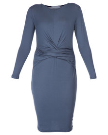 Utopia Drape Front Dress Charcoal