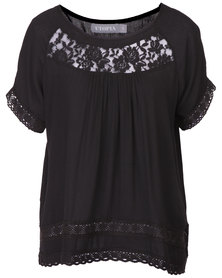 Utopia Top with Lace Inset Black