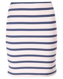 Utopia Stripe Pencil Skirt Navy