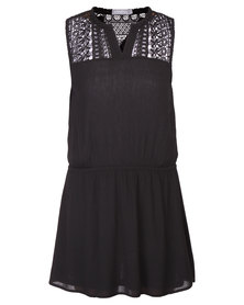 Utopia Tunic with Lace Inset Dress Black