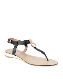 Utopia Trim T Bar Low Wedge Sandal Black