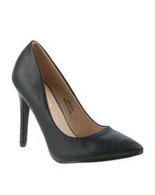 Utopia PU Pointy Heeled Court Black