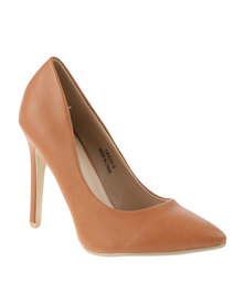 Utopia PU Pointy Heeled Court Brown