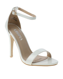 Utopia Patent Barely There Heeled Sandal White