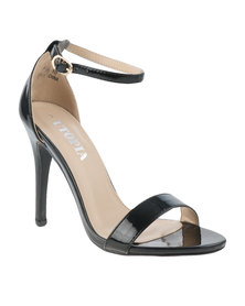 Utopia Patent Barely There Heeled Sandal Black