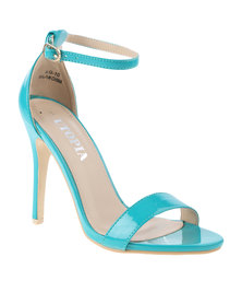 Utopia Patent Barely There Heeled Sandal Green
