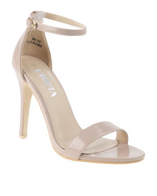Utopia Patent Barely There Heeled Sandal Nude