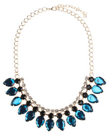 Utopia Leaf Jewelled Necklace Gold-Tone