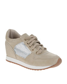 Utopia Metallic Inset Sneakers Beige