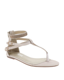 Utopia T-Bar Diamante Sandals Beige