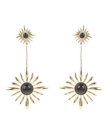 Utopia Flower Drop Earrings Black