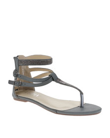 Utopia T-Bar Diamante Sandals Grey