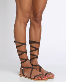 Utopia Suede & Leather Tie Up Sandal Brown