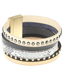 Utopia Stud Trim Bracelet Beige
