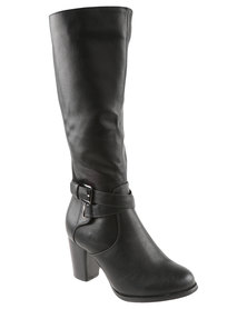 Utopia Knee High Buckle Heeled Boot Black