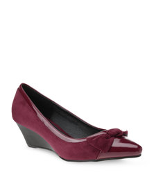 Utopia Bow Wedge Heels Purple
