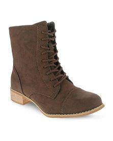 Utopia Toe Cap Combat Boots Brown