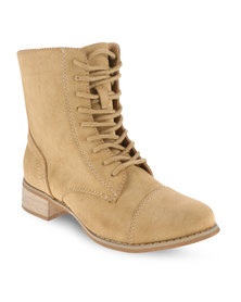 Utopia Toe Cap Combat Boots Camel