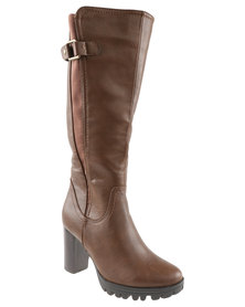 Utopia Cleated Gusset Knee High Boot Brown