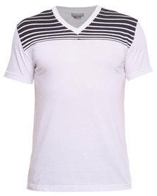 Utopia Shoulder Stripe Tee White