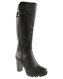 Utopia Cleated Gusset Knee High Boot Black