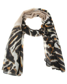 Utopia Animal Water Printed Scarf Beige