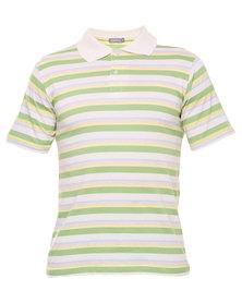 Utopia Stripe Polo Tee Green