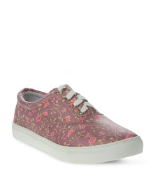 Utopia Printed Lace up Sneakers Pink