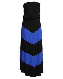 Utopia Chevron Maxi Dress Black/Cobalt