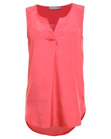Utopia Henley Sleeveless Shirt Coral