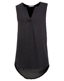 Utopia Henley Sleeveless Shirt Black