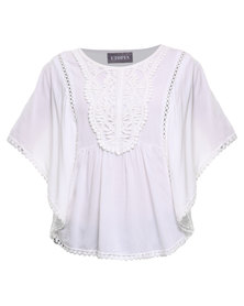 Utopia Lace Poncho Shape Top White