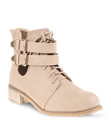 Utopia Flat Laced Ankle Boots Beige