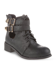 Utopia Flat Laced Ankle Boots Black