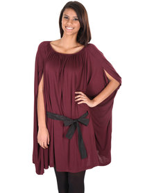 Utopia Bow Floaty Dress Burgundy