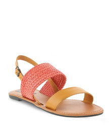 Utopia Leather & Weave Sandal Pink