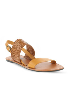 Utopia Leather & Weave Sandal Tan