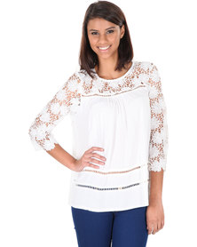 Utopia Lace Sleeve Top White