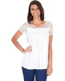 Utopia Lace Panelling Top White