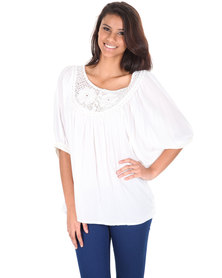 Utopia Crochet Panel Top White