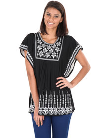 Utopia Multi Embroidered Top Black