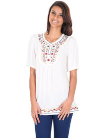 Utopia Embroidered Flowers Top White
