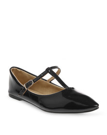 Utopia Patent T-bar Flats Black